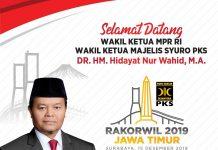 Selamat datang Wakil Ketua MS PKS DR. H. Hidayat Nur Wahid ke Rakorwil Jatim 2019